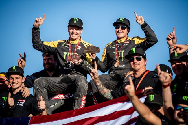 Casey Currie, Sean Berriman after winning 2020 Dakar Rally SSV Class