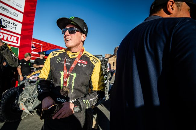 Casey Currie after winning 2020 Dakar Rally SSV Class