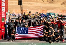Casey Currie and team at the finish line after winning 2020 Dakar Rally SSV Class