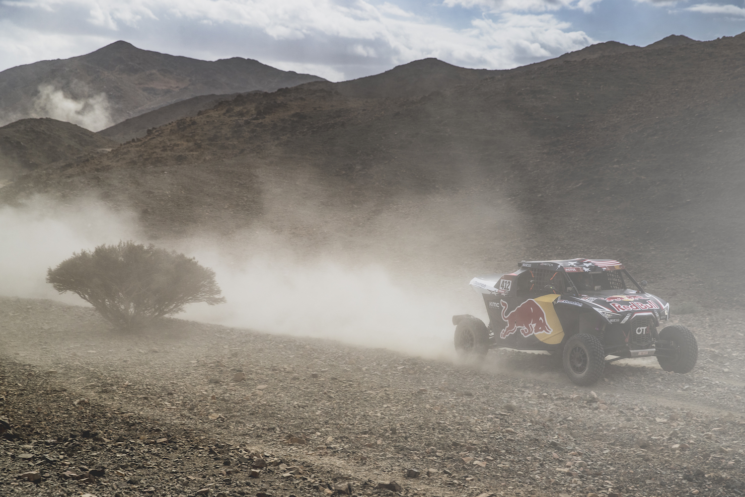 Mitchell Guthrie (USA) and Ola Floene (NOR) of SSV Red-Bull Off-Road Team USA races during stage 4 of Rally Dakar 2020 from Neom to Al-Ula, Saudi Arabia on January 08, 2020.