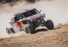 Cyril Despres (FRA) and Mike Horn (CHE) of SSV Red-Bull Off-Road Team USA races during stage 2 of Rally Dakar 2020 from Al Wajh to Neom, Saudi Arabia on January 06, 2020.