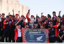 09 Brabec Ricky (usa), Honda, Monster Energy Honda Team 2020, Moto, Bike, Motul, ambiance on the podium at the arrival of the Dakar 2020, in Qiddiya, Saudi Arabia, on January 17, 2020 - Photo Florent Gooden / DPPI