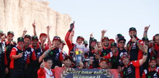 09 Brabec Ricky (usa), Honda, Monster Energy Honda Team 2020, Moto, Bike, Motul, ambiance on the podium at the arrival of the Dakar 2020, in Qiddiya, Saudi Arabia, on January 17, 2020 - Photo Florent Gooden / DPPI