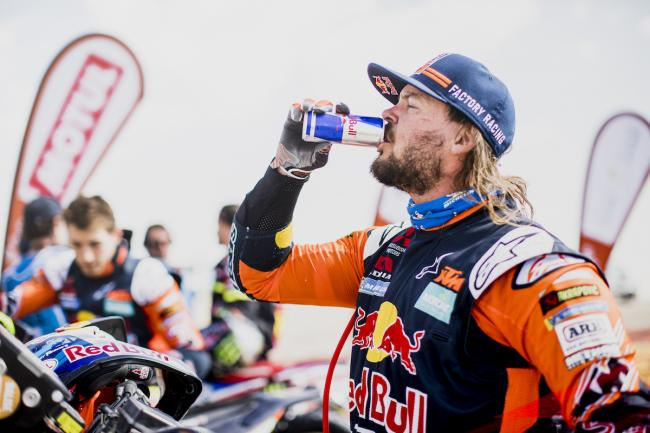 Toby Price (AUS) of Red Bull KTM Factory Team at the end of stage 11 of Rally Dakar 2020 from Shubaytah to Harad, Saudi Arabia on January 16, 2020.