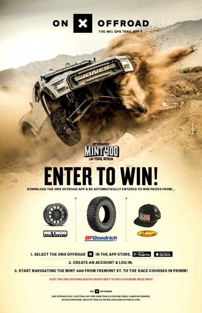 onX off road official gps app of the 2020 mint 400 2