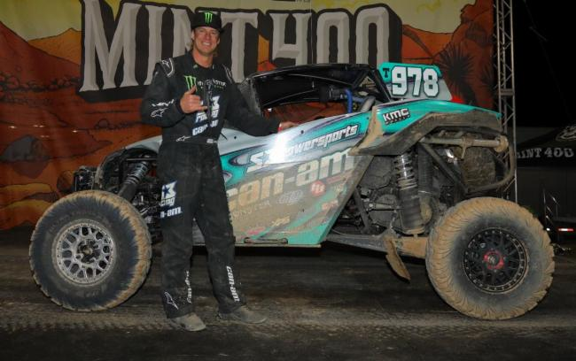 dustin jones at the finish of the 2020 mint 400
