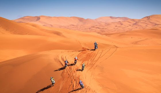 merzouga rally motorcycles driving across dunes 5