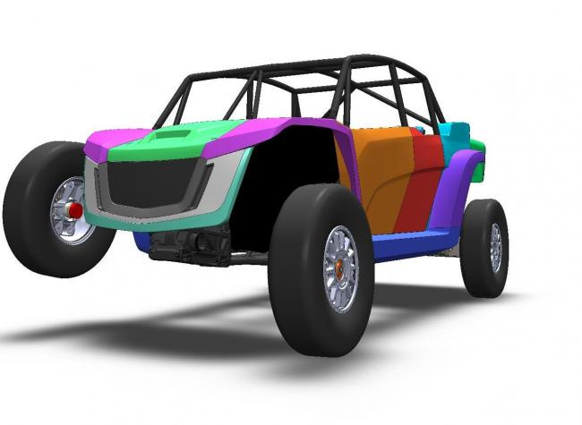2021 speed UTV from the front with tire raised