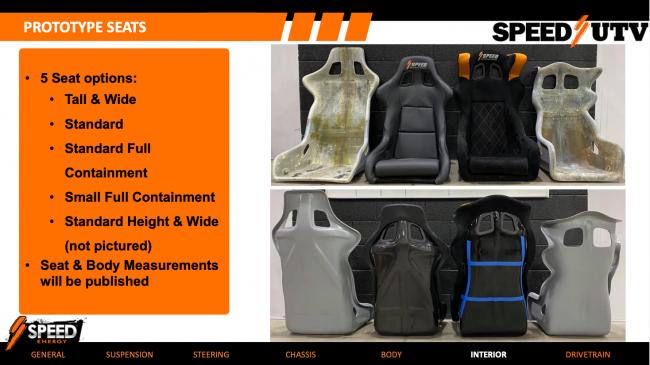 2021 speed UTV seat options