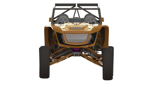 speed UTV at full droop from the front
