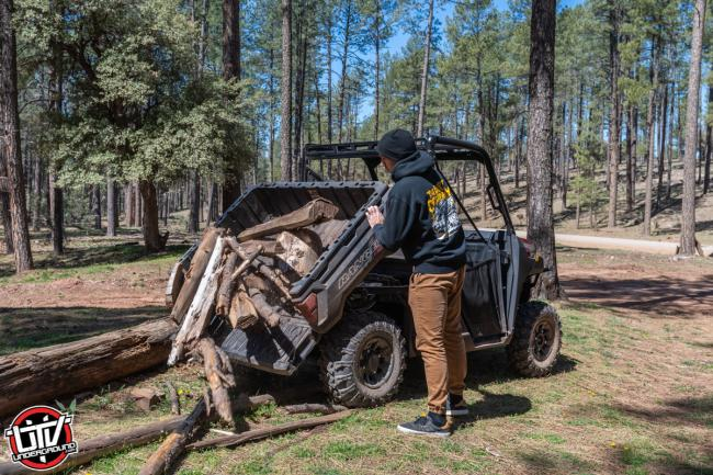 2020 Polaris Ranger 1000 at camp with a pick up bed full of wood
