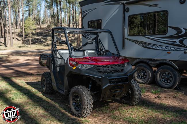 2020 Polaris Ranger 1000 next to toy hauler 1