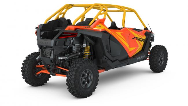 Polaris RZR PRO XP Orange Madness 4 Seater from the back angle
