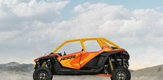 Polaris RZR PRO XP Orange Madness 4 Seater from the side in the mountains