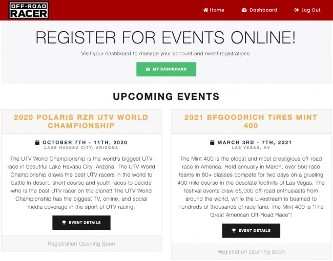 off road racer registration