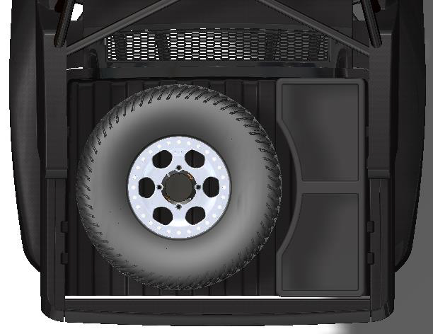 speed UTV bed with tire mounted to the left
