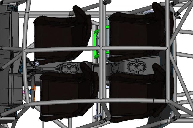 speed UTV layout of the center console and cup holders