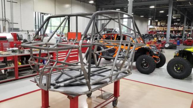 speed UTV prototype chassis from the front left side
