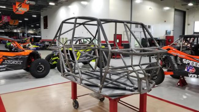 speed UTV prototype chassis from the front right side