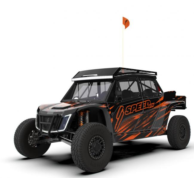 speed UTV with roof rack light bar bumper and window nets